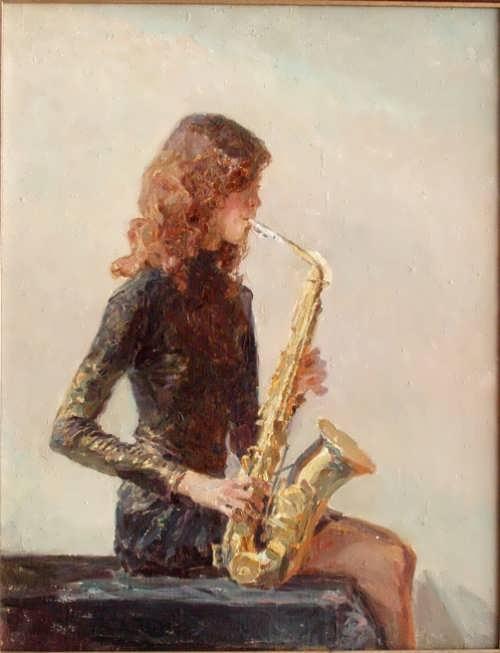 Maria Leonidovna Ponomareva. Girl with a saxophone