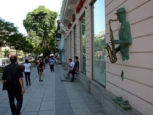 Monument to the saxophonist in Tbilisi, Georgia