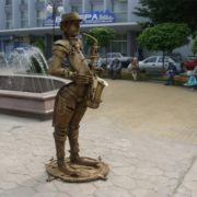Monument to the saxophonist in Vinnitsa, Ukraine