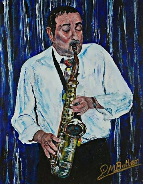 Peter Butler. Jazz portrait of Johnny on Sax with the Gambit Jazzmen