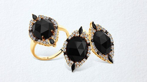 Earrings made of gold with agate and cubic zirconia