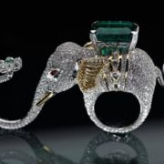 Elephant ring with emerald