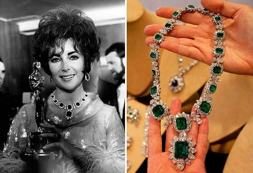 Elizabeth Taylor has a unique necklace with emeralds framed with diamonds