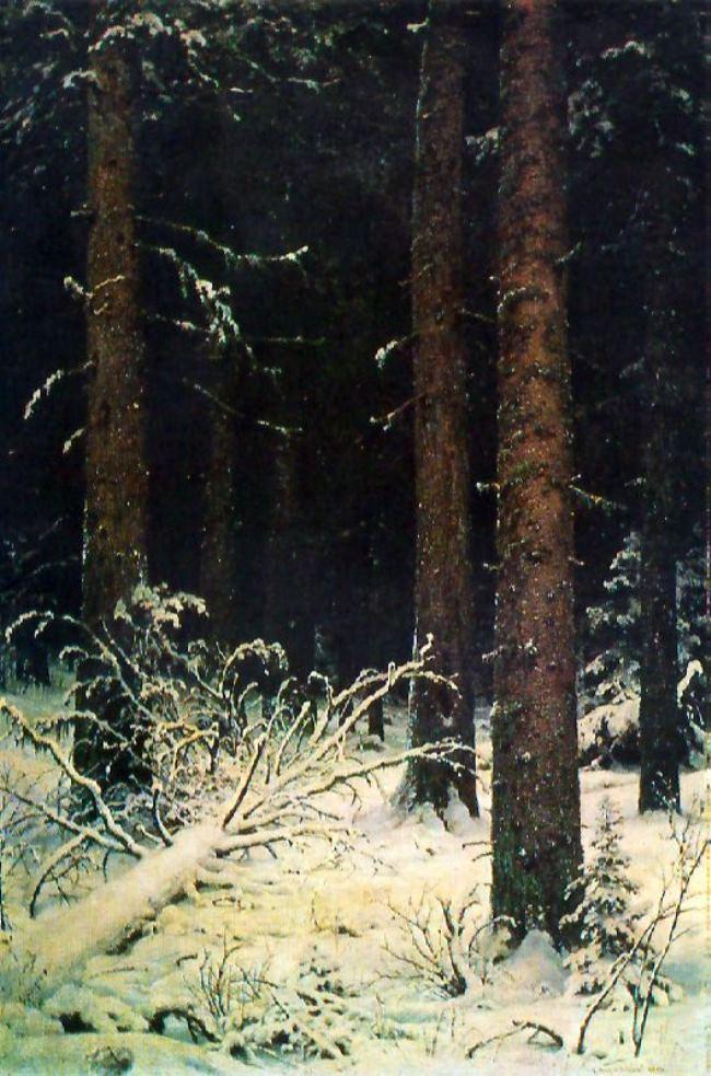 A fir forest in winter. 1884