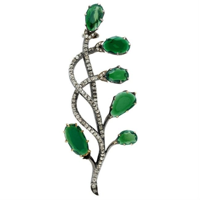 Antique Russian Silver, Gold, Tourmaline and Diamond Brooch.
