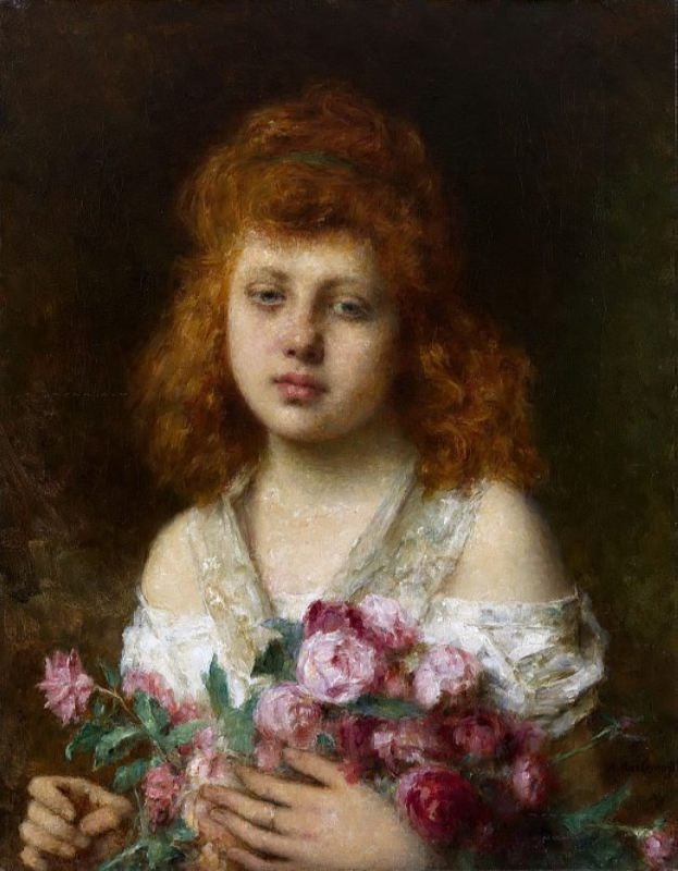 Auburn haired Beauty with Bouquet of Roses