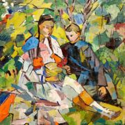 Children in the garden. 1918
