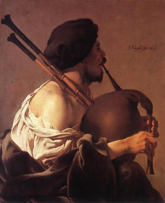 Hendrik Terbruggen. Bagpipe player, 1624