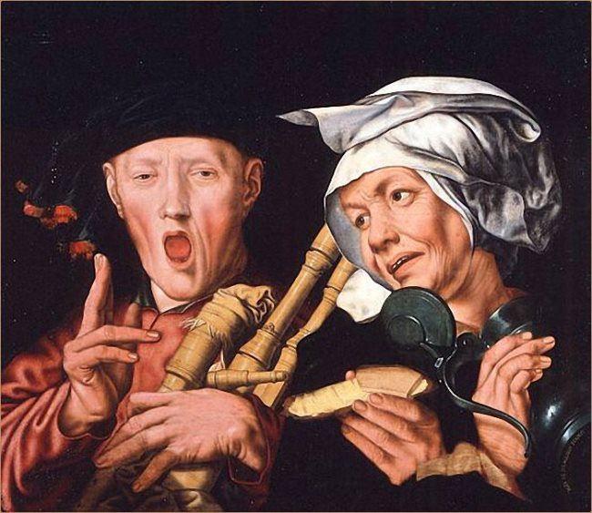 Jan Sanders van Hemessen. Piper and listener