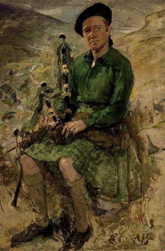 Kate Elizabeth Oliver. Portrait of Charles Higgins, in Highland dress. 1939