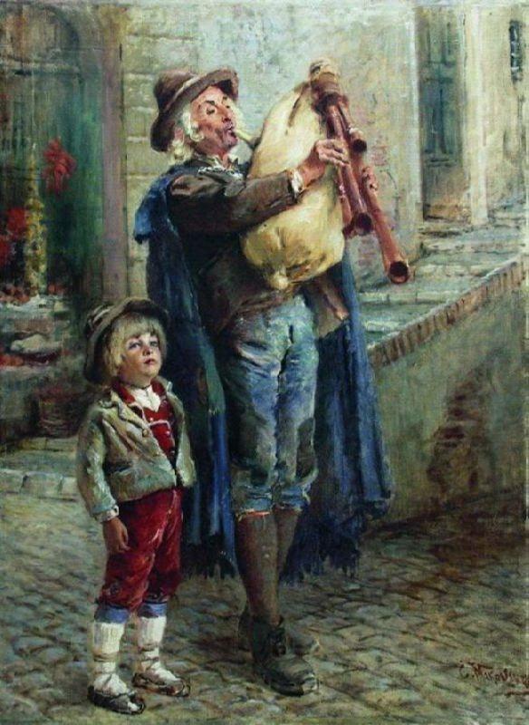 Konstantin Makovsky. Wandering musicians, 1910s