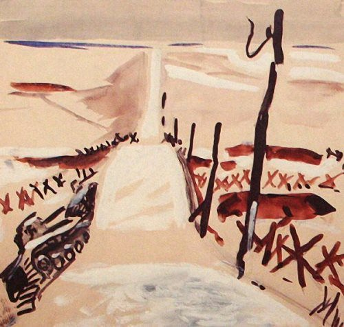 Landscape with a tank, 1942. Kursk Picture Gallery named after A. Deyneka