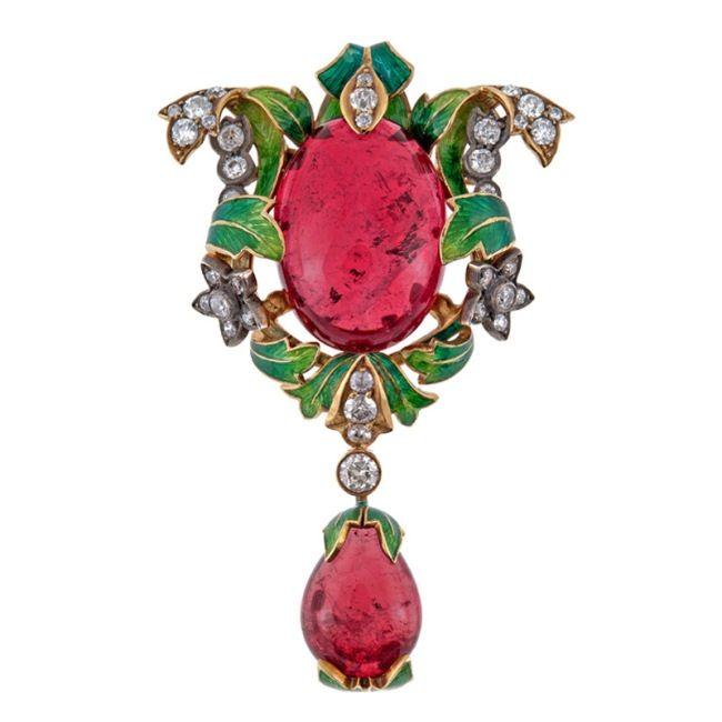 Magnificent Antique Tourmaline Diamond Enamel Pin-Pendant.