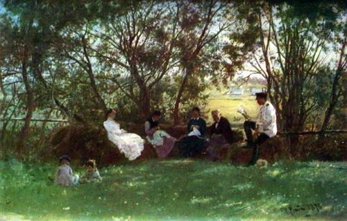 On the turf bench. 1876
