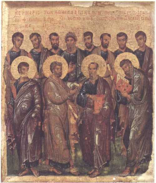The Twelve Apostles. Icon. The beginning of the XIV century