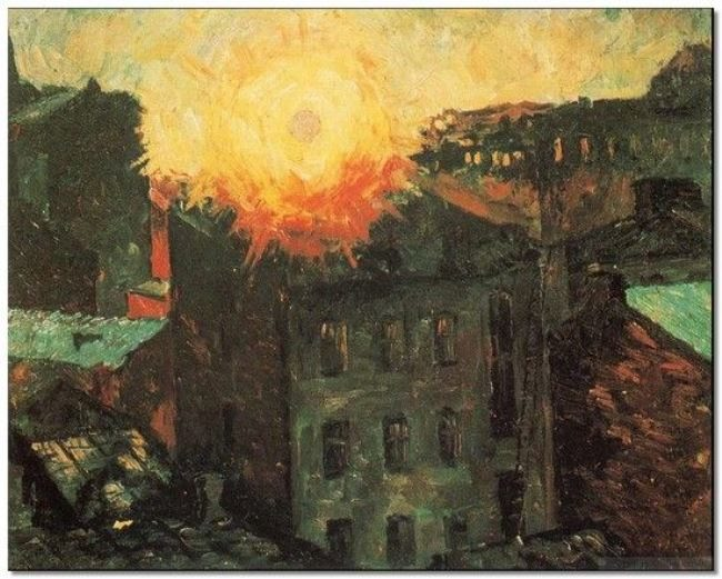 The sun is above the roofs. 1928