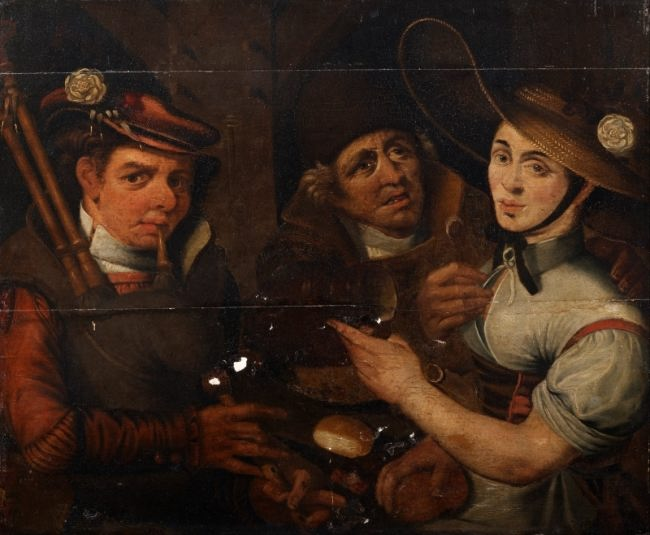Unknown Artist. Bagpiper and Girl. before 1686
