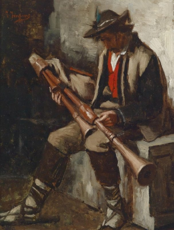 Unknown Artist. Italian Bagpipe Player. circa 1900