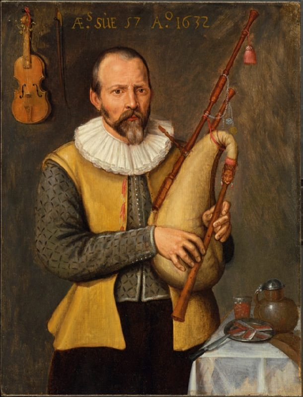 Unknown author. Portrait of a musician playing bagpipes. 1632