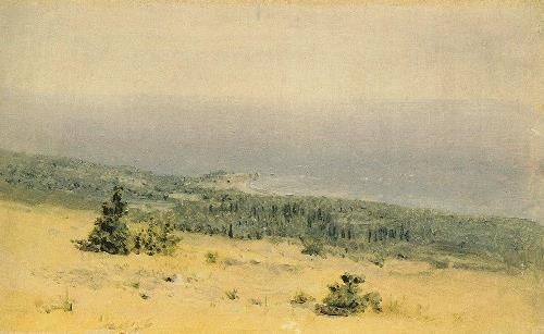 View of the beach and the sea from the mountains. Crimea. 1880s
