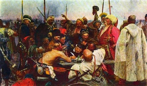 Zaporozhe Cossacks Writing a Mocking Letter to the Turkish Sultan. 1891