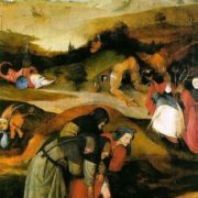 The flight and fall of St. Anthony. Triptych