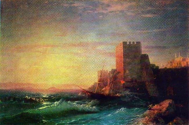 Towers on a rock near the Bosphorus. 1859