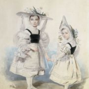 Anna and Ekaterina Vasilchikova in fancy dresses. 1830s