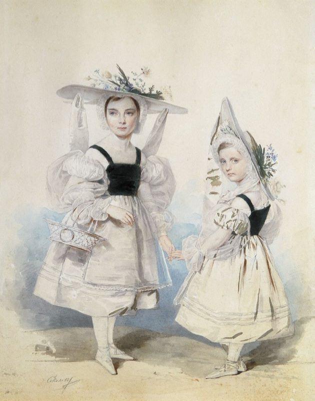 Anna and Ekaterina Vasilchikova in fancy dresses. 1830s