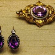 Brooch. 1857-64. Master A. Holstrem. Amethyst, gold. The State Museum of Peterhof. Earrings. St. Petersburg, 1908-17