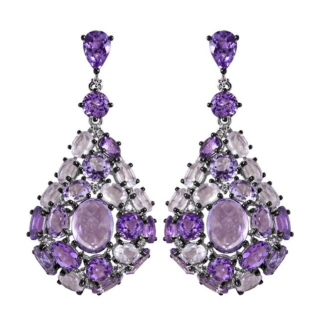 Earrings with amethyst