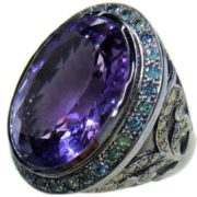 Interesting ring with amethyst
