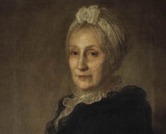 Portrait of A. Yu. Kvashnina-Samarina. The first half of the 1770s. Fragment