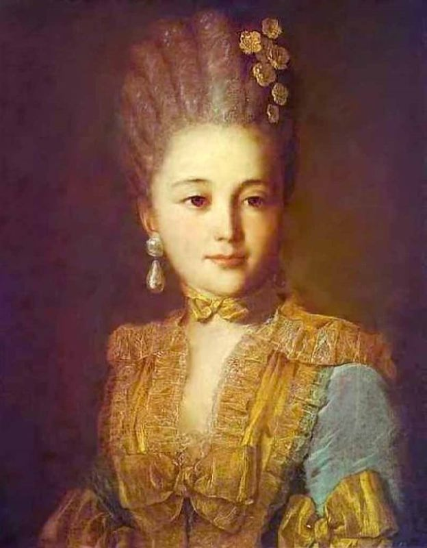 Portrait of an unknown woman in a blue dress with a yellow trim