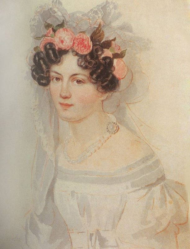Portrait of an unknown woman in a floral dress. 1820s