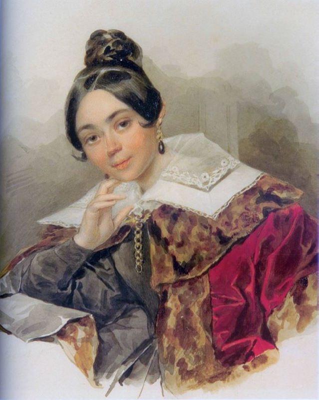 Portrait of an unknown woman in a fur coat. 1830s