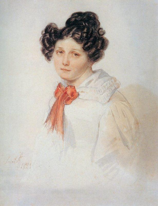 Praskovya Yegorovna Annenkova (1800-1879), nee Polina Geble, wife of the Decembrist I.A. Annenkov. 1825