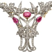 Antique brooch. Gold, silver, pink sapphire, diamonds