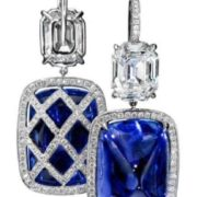 Attractive earrings with sapphire