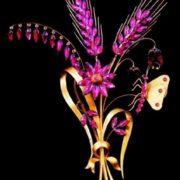 Brooch Bouquet. Almandine in gold