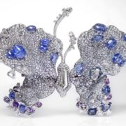 Brooch in the form of a butterfly. diamonds, sapphires