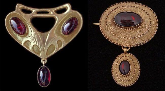 Brooch of the Victorian era. Garnets in gold