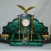 Clock, malachite