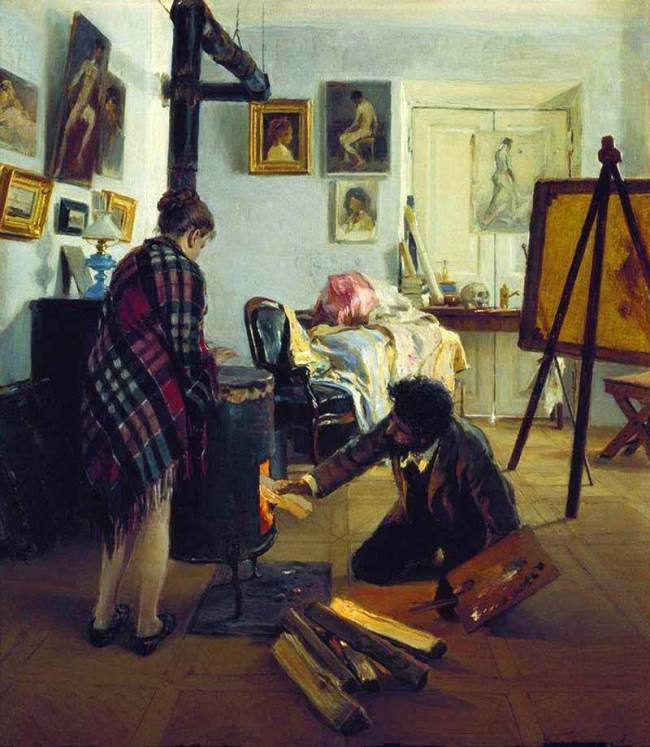 In the artist's workshop, 1890