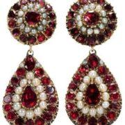 Interesting earrings with garnet
