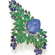 Karat Gold, Platinum, Sapphire, Emerald and Diamond Brooch, Marchak, Paris.