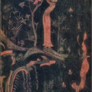 Legends of Buddha's life. Fragment of lacquer painting, VII century
