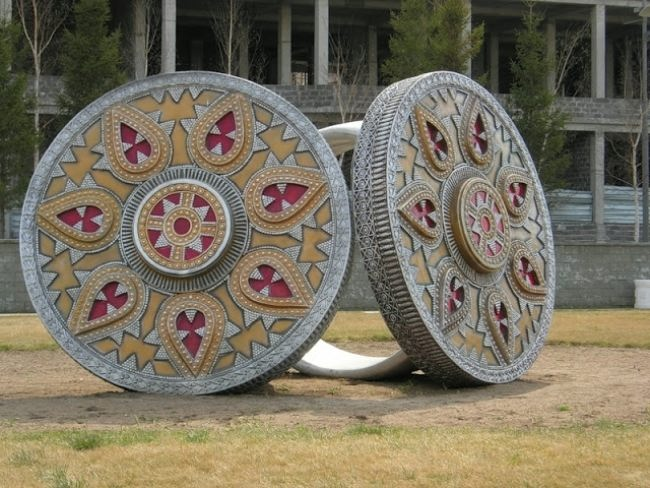 Monument to rings in Astana, Kazakhstan