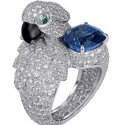 Parrot. Platinum, diamonds, sapphires