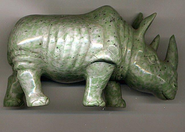 Rhino made of nephrite